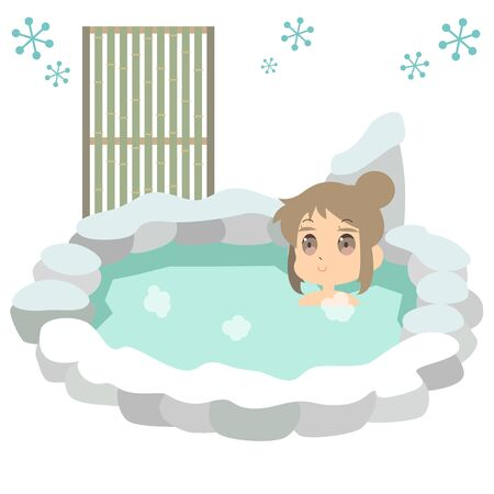 Illustration that one woman is entering a hot spring in winter  イラスト・ベクター素材