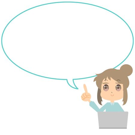 Illustration of laptop and woman and speech bubble