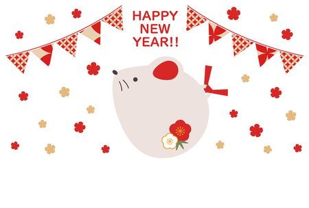 Illustration of a simple and cute rat New Years card