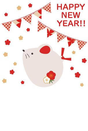 Illustration of a simple and cute rat New Year's card