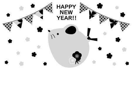 New Years card illustration of a cute nature d  イラスト・ベクター素材