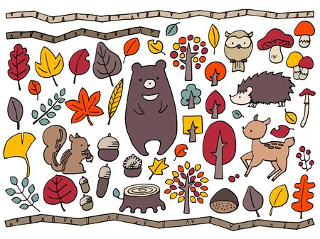 Illustration of animals in the autumn forest