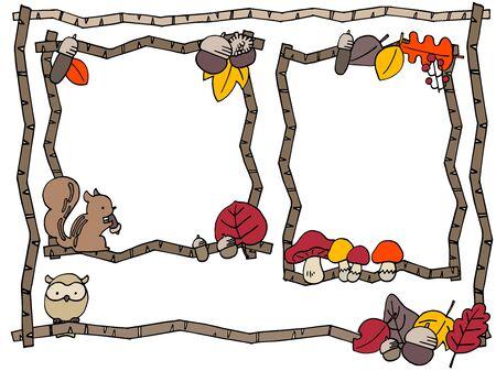 Cute autumn frame illustration set