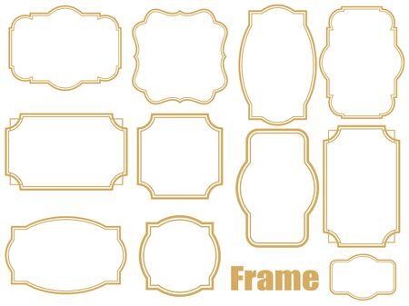 Simple gold frame illustration set
