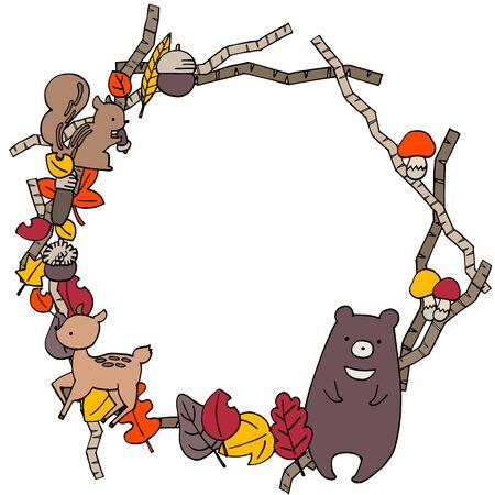 Autumn cute round frame illustration