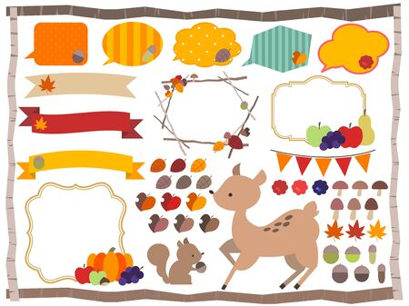 Autumn motif illustration frame set Stock Illustratie