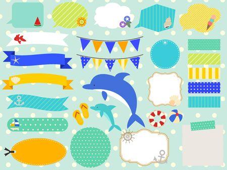 Illustration frame set of summer motif