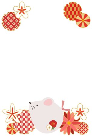 Illustration New Years card with a reddish cute rat Illustration