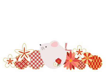 Illustration New Years card with a reddish cute rat  イラスト・ベクター素材