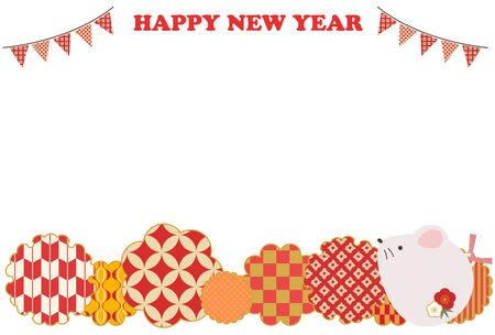 New Years card illustration of cute red rat Stock Illustratie