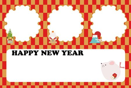 New year's card with photo frame of 3 rats Vettoriali