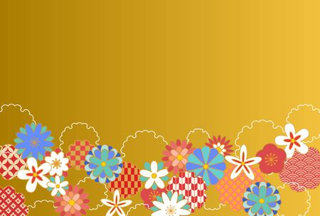 Japanese pattern floral background illustration material  イラスト・ベクター素材