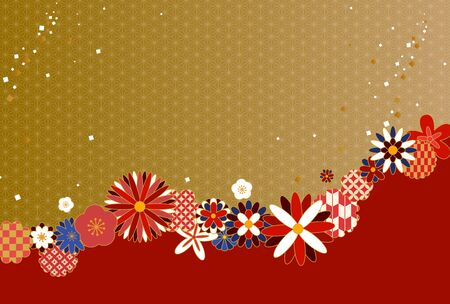 Background illustration of golden and Japanese style floral pattern