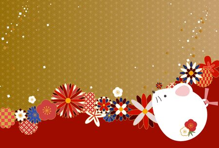Japanese style design New Years card illustration of rat