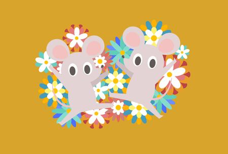 Mouse flat design new year card illustration