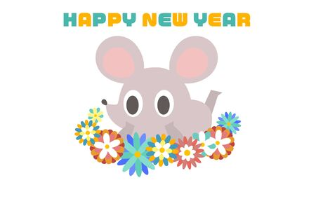 New Years card illustration of a simple and cute rat
