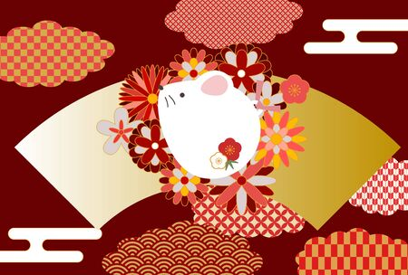 Illustration New Year's card with fan and flower rat