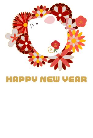 Illustration New Year's card with cute Japanese style floral rat