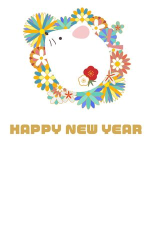 Illustration New Years card with a rat in a floral pattern  イラスト・ベクター素材