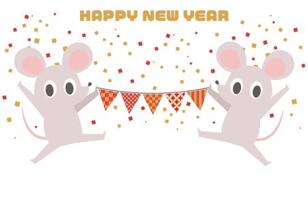 Illustration New Years card with ornate rat  イラスト・ベクター素材
