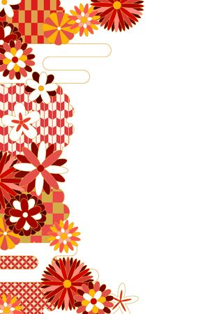 Japanese pattern flower pattern frame in red  イラスト・ベクター素材