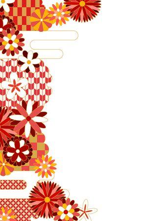 Japanese pattern flower pattern frame in red Stock Illustratie