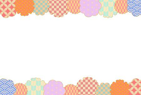 Pastel color Japanese style pattern frame
