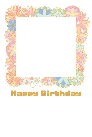 Pastel color floral photo frame birthday card Vettoriali