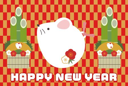 Illustration New Year's card with Japanese style background rat