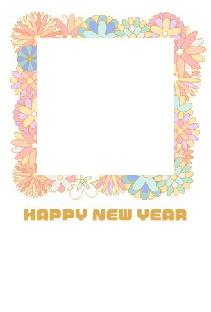 Pastel color floral photo frame new year card