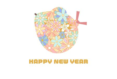 Pastel colored cute rat illustration new year card