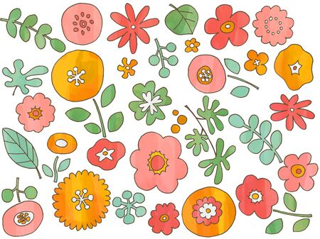 Hand drawn watercolor style flower assortment Ilustrace