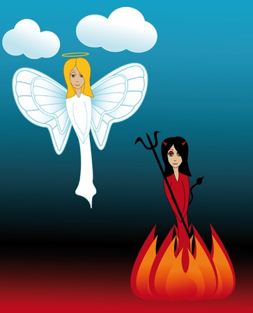 she: Cute sweet angel flying in the clouds with a cute she devil below with flames