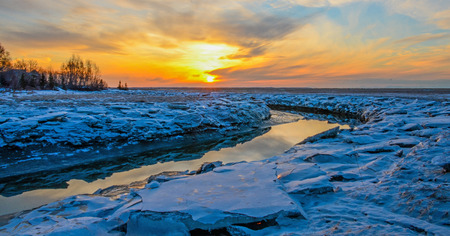 anchorage: Campbell Creek Estuary Park at Sunset in Anchorage Alaska