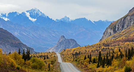 glenn: The Glenn Highway looking west towards Lions Head and the Chugach Mountains in fall.