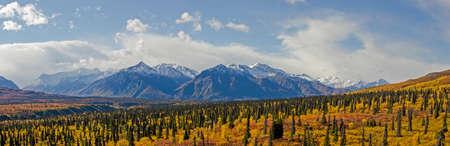 glenn: Snow capped Chugach Mountains along the Glenn Highway in fall Stock Photo