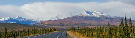 gunsight: Alaskas Gunsight Mountain along the Glenn Highway in fall