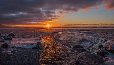 anchorage: Cook Inlet winter sunset near Anchorage, Alaska