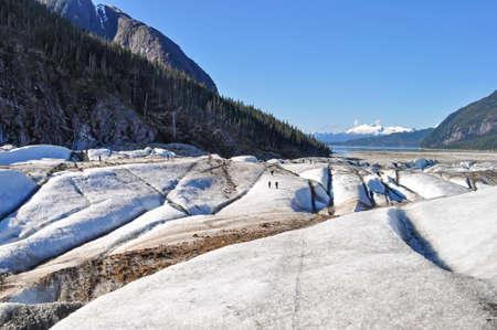 southeast alaska: People trek on Baird Glacier in Southeast Alaska