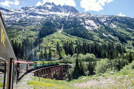 narrow gauge railroads: White Pass  Yukon Route Railroad heading towards Skagway, Alaska