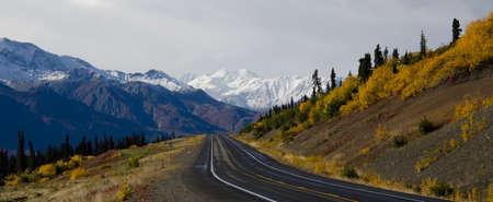 glenn: Driving along the Glenn Highway in Alaska during the fall season Stock Photo