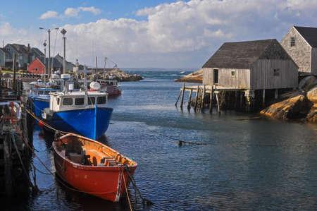 nova: Fishing boats in Peggys Cove Nova Scotia Stock Photo
