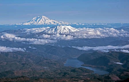 helens: Mount Rainier and Mount St. Helens in Washington State
