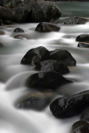 Rapids over Rock Stock Photo