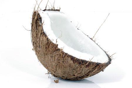 Half coconut on white background