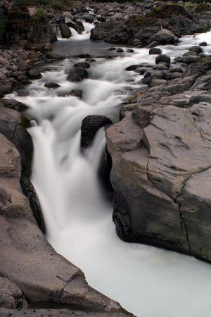 Upstream of rapids and waterfall Stock Photo