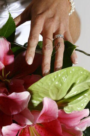 brides hands on bouquet
