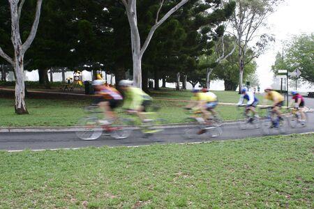 Cyclists riding