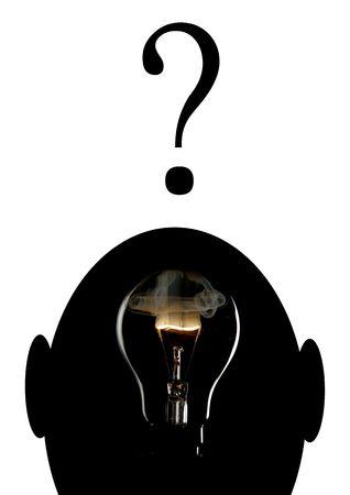 Exploding light bulb in head photo