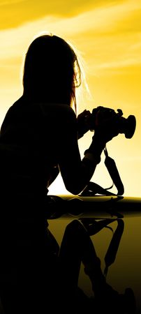 Sunset Silhouette of photographer Stock Photo - 566725